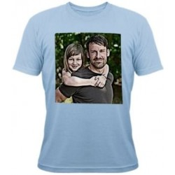 Tee shirt bleu avce photo