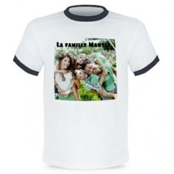 Tee shirt blanc bordure noir photo