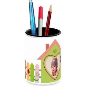 Pot à crayons blanc avec montage photo maison