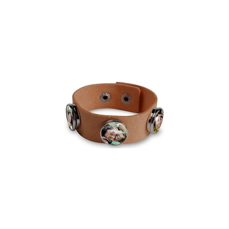Bracelet marron personnalisable 3 photos
