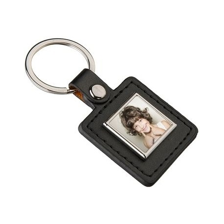 Porte clef carre cuir photo