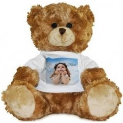 Peluche ours brun avec photo