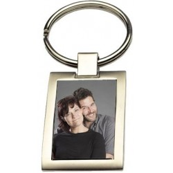 Porte clef acier rectangle avec photo