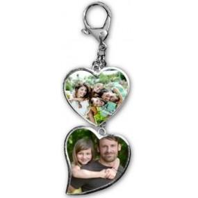 Porte clé 2 coeurs avec photos imprimées