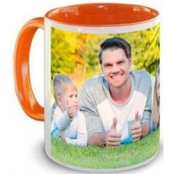 Mug orange avec photo imprimée