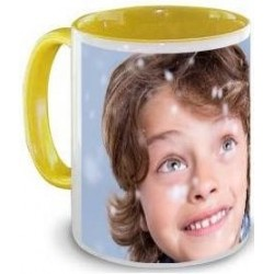 Mug jaune personnalisable photo