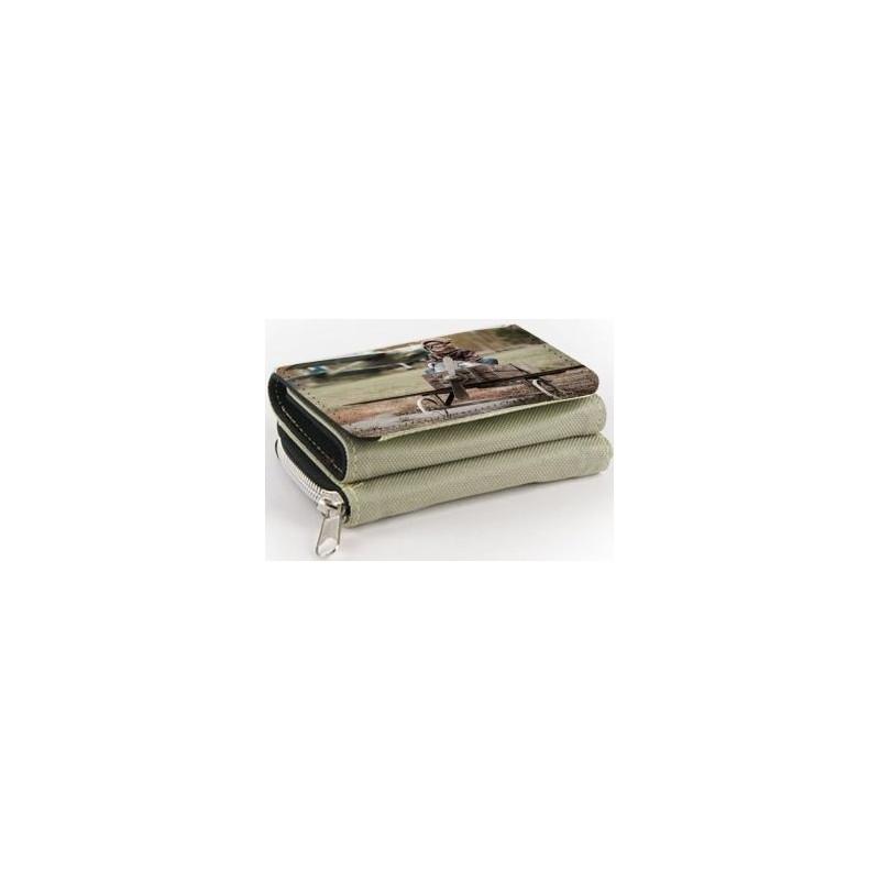 Portefeuille tissu beige à personnaliser