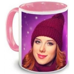 Mug rose bonbon avec photo